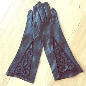 Vintage Leather Lace Detailed Gloves